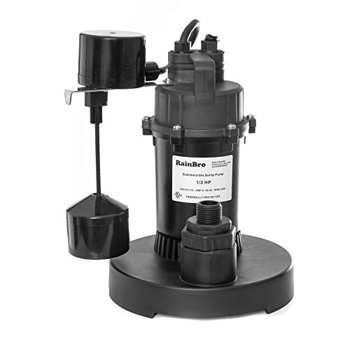 Rainbro 1/2 HP Thermoplastic Submersible Sump Pump With Vertical Float Switch, Model# PSU050V