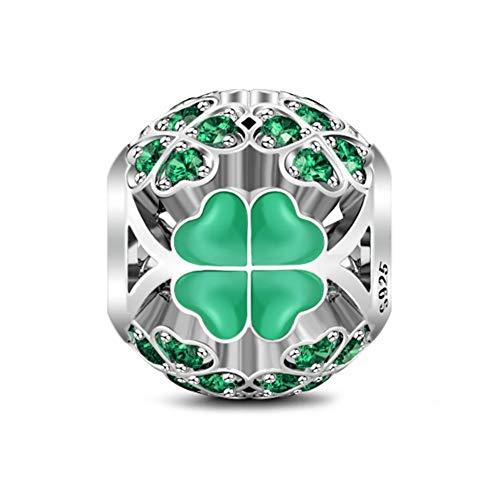 GNOCE Abalorio de plata de ley para pulseras con circonio cúbico verde monstruo de la suerte de cuatro hojas para pulsera/collar de joyería regalo para mujeres y niñas