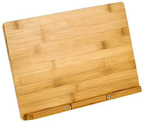 Moses Buchständer Bambus Natur libri_x | Verstellbare Buchstütze in Einer Geschenkbox | Kochbuchständer, braun, One Size