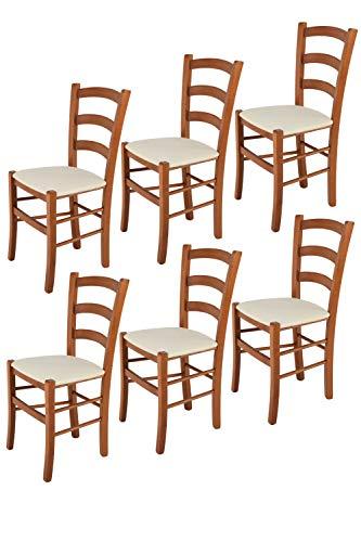 Tommychairs - Set 6 sillas Venice para Cocina y Comedor, Estructura en Madera de Haya Color Cerezo y Asiento tapizado en Tejido Color Marfil