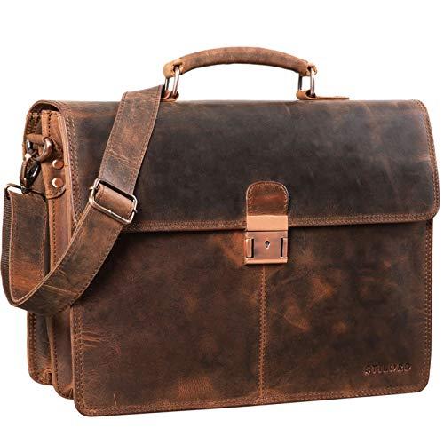 STILORD 'Apolonius' Arbeitstasche Herren Leder Vintage Aktentasche Umhängetasche Dokumententasche A4 15,6 Zoll Laptop Tasche für Büro Business Echtleder, Farbe:Sepia - braun