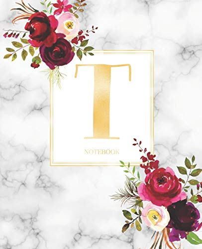 7.5 in x 9.25 in Girls and School Wide Rule Notebook Marble Rose Gold Monogram Initial Letter V with Marble and Pink Floral Notebook Journal for Women