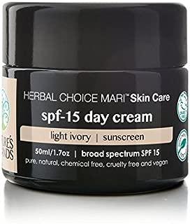 Herbal Choice Mari Natural SPF 15 Day Cream, Light Ivory; 1.7floz Glass