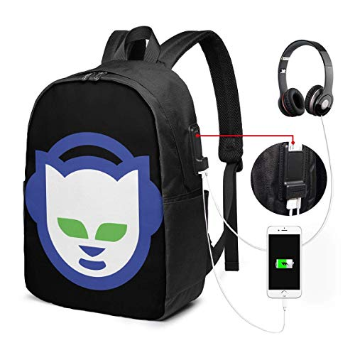 Lawenp Napster Logo Laptop Backpack 17 Inch College School Backpack with USB Charging Port Casual Daypack for Travel