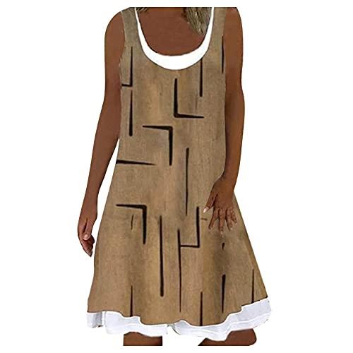 L9WEI Vestido de verano vintage para mujer, sin mangas, largo hasta la rodilla, estilo boho, corte en A, informal, para la playa, elegante, minivestido, suelto, Mujer, caqui, extra-large