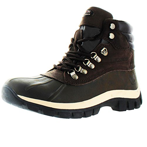 kingshow - Mens Warm Waterproof Winter Leather High Height Snow Boot, Brown 37121-8.5D(M) US