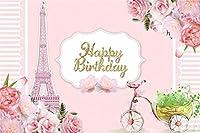 新しい7x5ftピンクのエッフェル写真の背景王女の誕生日パーティーの背景花の誕生日ルームの装飾赤ちゃんの女の子レディー娘の肖像写真撮影の小道具の壁紙
