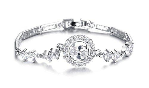 Armband Damen Mädchen Frauen Armbänder armreif 925 Sterling Silber Weißes Gold mit Zirkonia Ring Handarbeit Edel Charm Modeschmuck Armkettchen Allergikerfrei Valentinstag Geburtstagsgeschenk