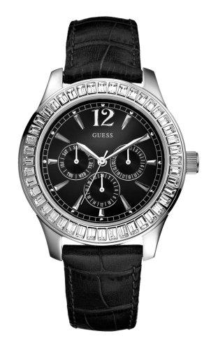 Guess Guess Trend W12053L1 - Reloj analógico de mujer de cuarzo con correa de piel negra - sumergible a 30 metros