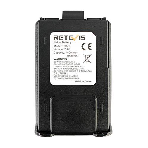 Retevis RT5R Walkie Talkie Batería, Li-Ion Original Batería, 7.4V 1400mAh Compatible con Baofeng UV-5R RT5R RT5RV Walkie Talkie (1 Pieza, Negro)