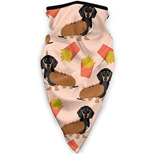 MJKONE Doxie Dachshund Winer Dog Hot Dog y papas fritas Disfraz de perro lindo a prueba de viento mscara multifuncional pauelo al aire libre Pasamontaas cabeza bufandas para mujer moda