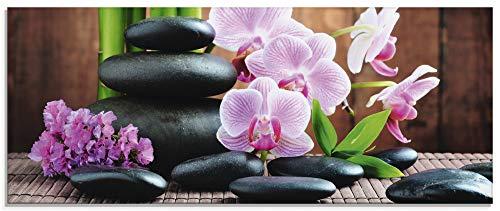Artland Glasbilder Wandbild Glas Bild einteilig 125x50 cm Querformat Natur Asien Wellness Zen Steine...