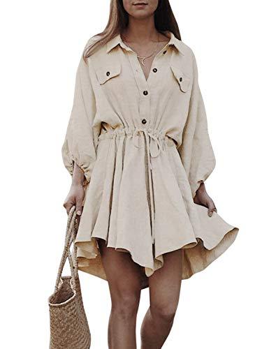 MsLure Damen Hemdkeild Kurz Leinen Langarm Baumwolle Dress Mit Knöpfe Vintage Kleid Beige