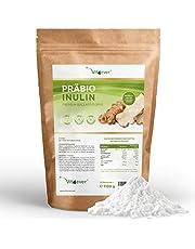 Prebio Inulinepoeder, 1100 g (1,1 kg), hoog vezelgehalte, prebioticum, residugecontroleerd, herkomst België, natuurlijk uit de chicorewortel, 100% veganistisch.