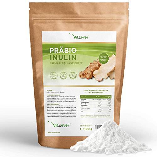 Präbio Inuline en poudre - 1100 g - Haute teneur en fibres - Prébiotique - Testé en laboratoire - Fabriqué naturellement à partir de racine de chicorée