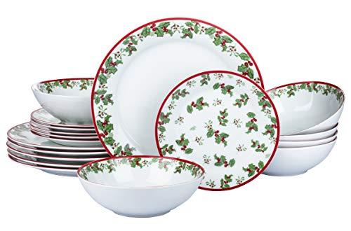 Waterside England by Retsch Arzberg/Geschirr Tafelservice Holly/Set 18-teilig für 6 Personen/klassisches Weihnachtsdekor Stechpalmen/runde Form/Porzellan