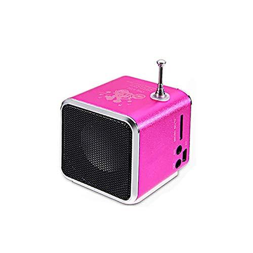 C- Tragbarer digitaler FM-Radio-Lautsprecher Mini-FM-Radioempfänger mit LCD-Stereo-Lautsprecher-Unterstützung Micro-TF-Karte mit Lade- und Audiokabel,Rosa