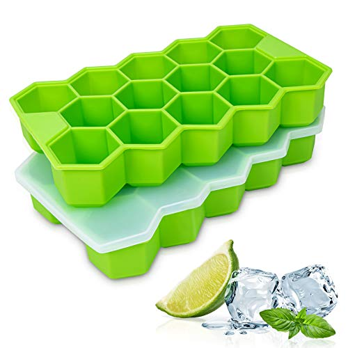 WETONG Ice Cube Trays 2 Pack, Easy-Release Silicone Ice Cube Trays With Lids and Flexible 28-Ice Trays, BPA Free, Stackable Durable and Dishwasher Safe Ice Cube Molds