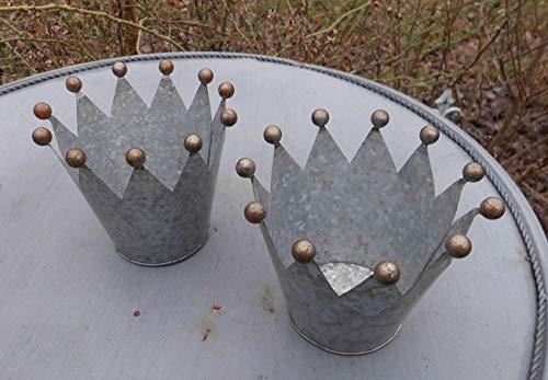 Deko-Kronen Kugelspitzen Set 2 Übertopf Windlicht Teelichthalter Eisen