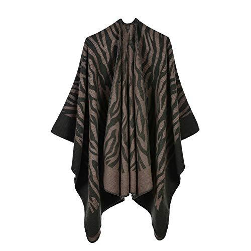 KKYHV sjaal ponchos caps voor vrouwen winter sjaal deken eenvoudige streep sjaals en wraps dikker kwastjes dames winterjas