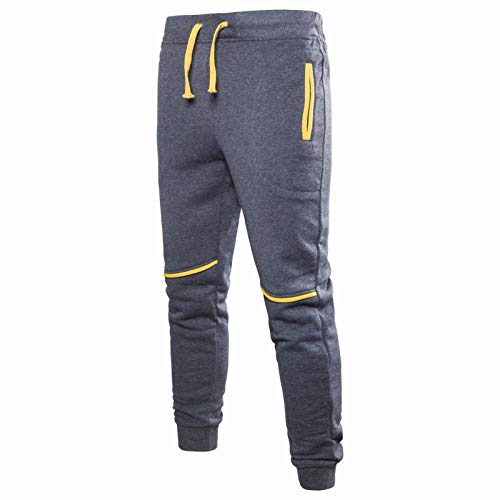 Katenyl Pantalones de chándal de Empalme para Hombre Moda Todo fósforo Fitness al Aire Libre Correr Ocio Pantalones básicos cómodos con cordón M