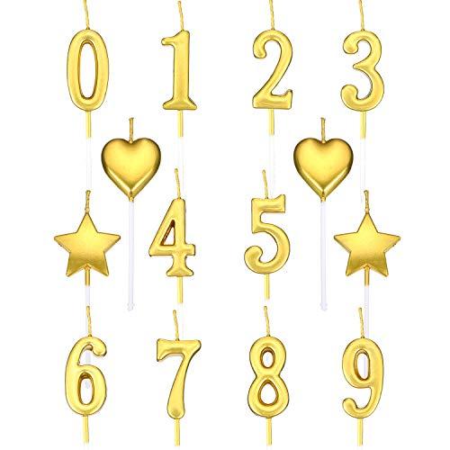 El Juego de Velas de Cumpleaños Incluye 10 Piezas Número de Velas Número 0 - 9 Topper de Pastel Con Brillo, 4 Piezas de Velas de Estrellas y 4 Piezas de Velas de Corazón para Fiesta de Cumpleaños