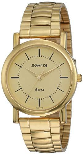 Sonata Analog Champagne Dial Men's Watch-NL77049YM01C