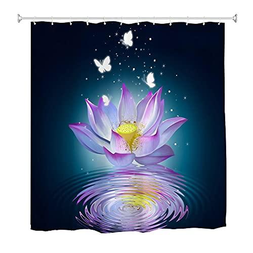 Oduo Duschvorhang 3D Schmetterling Motiv, Duschvorhänge Wasserdicht Antischimmel Bad Vorhang Badezimmervorhang Badewanne Vorhang mit 10-12 Duschvorhangringe (Lotus Blume,180x220cm)