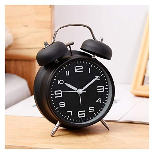 JSJJAYU Despertador para niños Despertador Reloj de Noche niño Personalidad Reloj Metal Creativo Luminoso Sentado Reloj Ocio Reloj decoración del hogar (Color : 4 Inch Stereo Black)