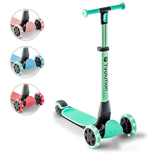 Yvolution Y Glider Nua | Faltbarer Dreirad-Scooter für Kinder mit Zubehör zum Verstauen | Alter: 3-10 Jahren (Baugrün)