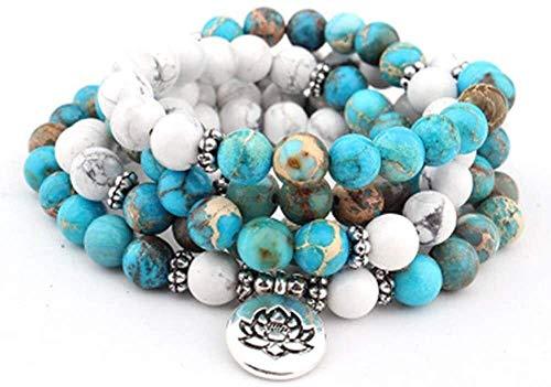 SIRENK 108 Beads Mala Cadena Envoltura Pulsera Natural Blanco Turquesa Pulsera Pulsera Oración Collar de meditación con Lotus Buddha Mano Colgante