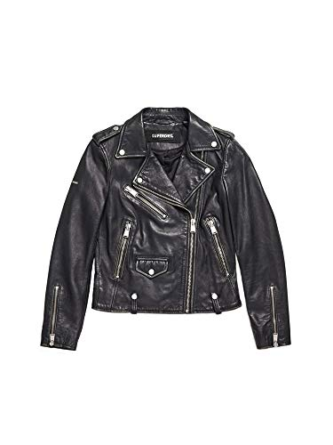 Superdry Lederjacke Damen Rylee Leather Biker Black, Größe:L