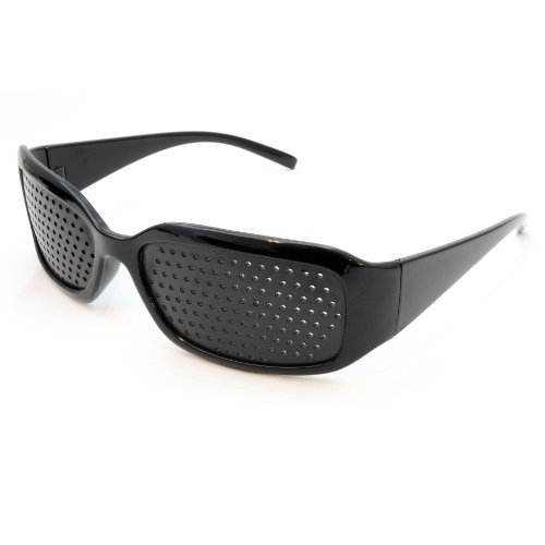 Raster-Brille/Loch-Brille für Augen-Training und Entspannung, Gitter-Brille mit faltbaren Bügeln, Form A, Farbe: Schwarz
