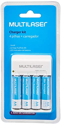 Carregador de Pilhas Multilaser AA/AAA + 4 Pilhas AA 2500Mah - CB054, turquoise