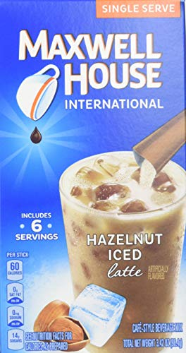 Maxwell House International Cafe Style Iced Latte Singles Hazelnut Beverage Mix, 3.42 Ounce - 8 per case.