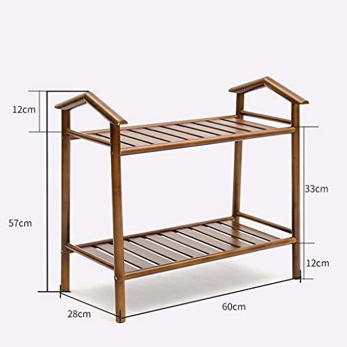 ZfgG 2 étagères 3 étagères en bambou naturel porte-étagère support armoire de rangement organisateur unité étagères d'armoire, brun (taille : 2 tier)