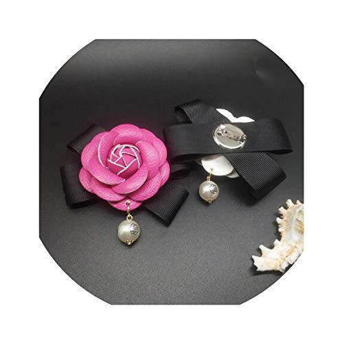 Female All Match Charm Camellia Flower Brooch Quality Leather Cloth Bow Pearl Women DIY Brooches,Rose