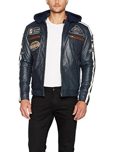 Chaqueta Moto Hombre en Cuero Urban Leather  58 GENTS  | Chaqueta Cuero Hombre | Cazadora de Moto de Piel de Cordero | Armadura Removible para Espalda, Hombros y Codos Aprobada CE |Navy Azul | L