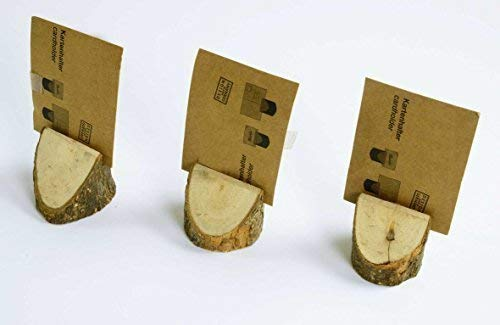 Support de carte Table de Porte-badges mariage de communion, confirmation de 3 PA., HxØ : env. 40 x 40 mm, fente Largeur env. 1,5 mm en pin avec écorce
