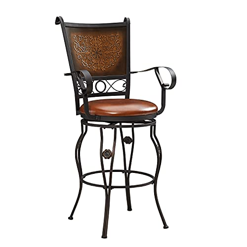 Powell Company Big and Tall Copper Stamped Back Barstool with Arms Bar Stool, Bronze