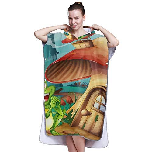 LMFshop Illustration eines Frosches in der Nähe des Pilzhauses 181 Poncho Handtücher für Frauen Handtuch Robe mit Kapuze Wickelhandtuch Frauen zum Surfen Schwimmen Baden Einheitsgrösse