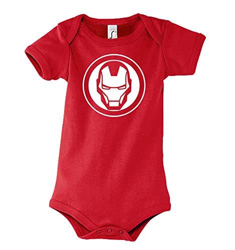 TRVPPY Baby Kurzarm Body Strampler Modell Ironman, Gr. 3-6 Monate, Rot