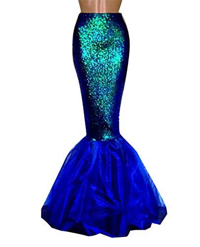 Loalirando Damen Meerjungfrau Kostüm Halloween Mermaid Bühnenkostüme Pailletten Maxirock Cosplay Karneval Abendkleid (Blau, M)
