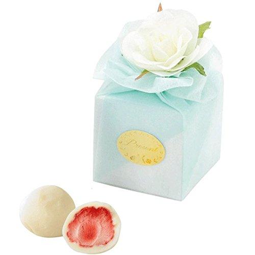 ホワイトローズ付きボックスのプチギフト(ブルー)(いちごチョコ2個入り)1個【結婚式 二次会 パーティ】