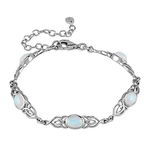 Silvershake Natural Moonstone 925 Sterling Silver Triquetra Celtic Knot 7.25 to 8.75 Inch Adjustable Bracelet
