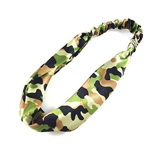 rougecaramel - Accessoires cheveux - Bandeau/headband/serre tête large imprimé camouflage - vert