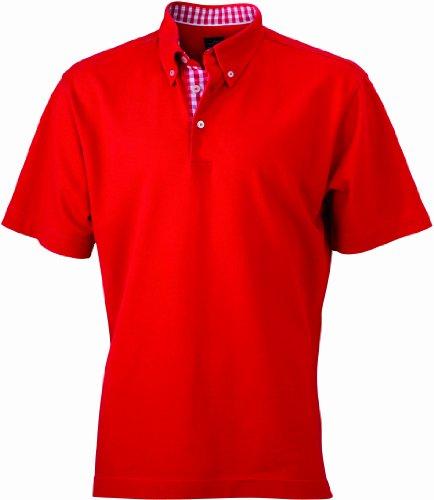 James & Nicholson Herren Poloshirt Poloshirt Men's Plain rot (red/red-white) Large