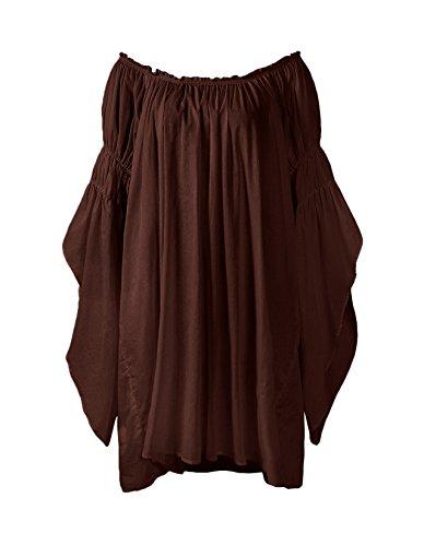 ReminisceBoutique Renaissance Medieval Peasant Dress Up Pirate Faire Celtic Blouse (Small, Brown)