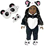 MY GENIUS DOLLS Clothes - Panda Onesie Pajama with Matching Sleepover Masks - Clothes for 18 inch Dolls Like...