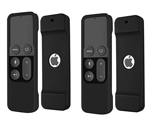 2Pack Remote Case Compatible with Apple TV 4K 4th 5th Generation, HJYuan Shock Proof Silicone Remote Cover Case Compatible with Apple TV 4th 5th Gen 4K Siri Remote Controller - Black